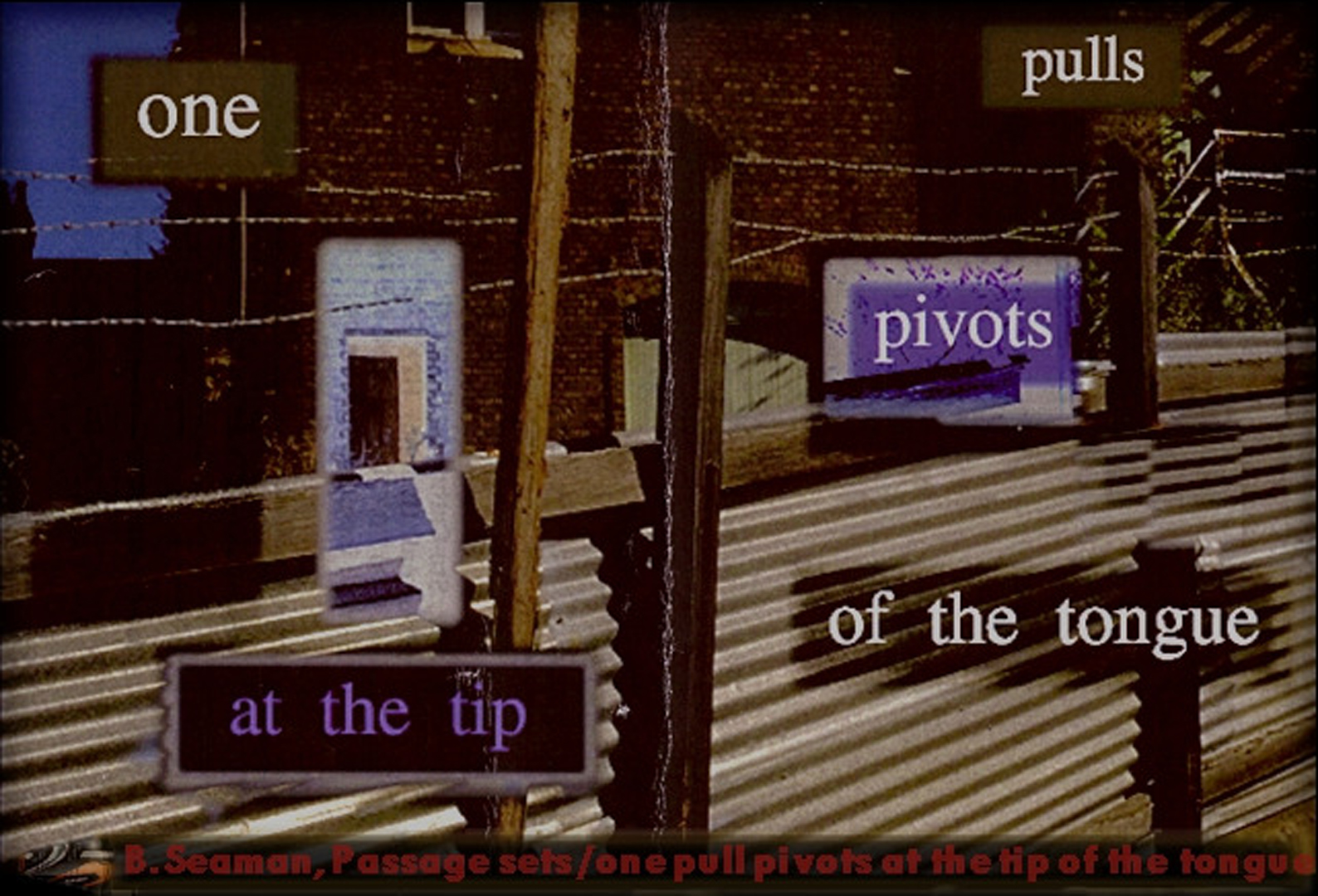 ©, Bill Seaman, Passage Sets: One Pulls Pivots At The Tip Of The Tongue