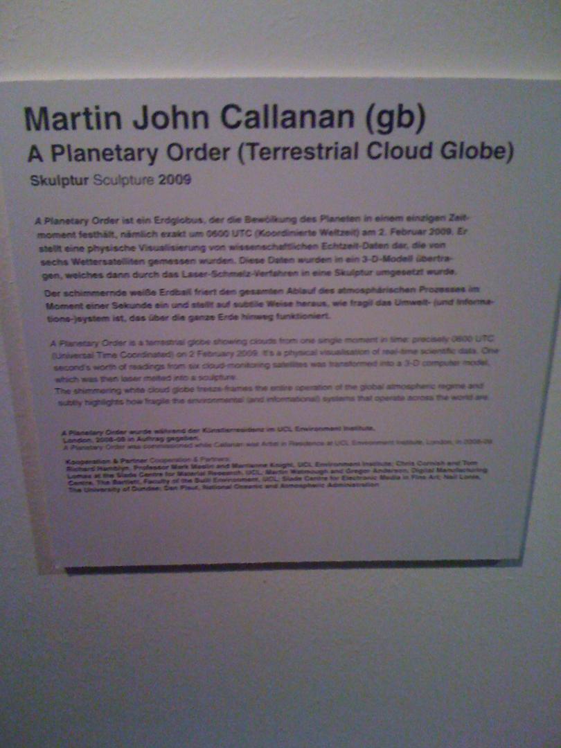 ©2009, Martin John Callanan, A Planetary Order (Terrestrial Cloud Globe)