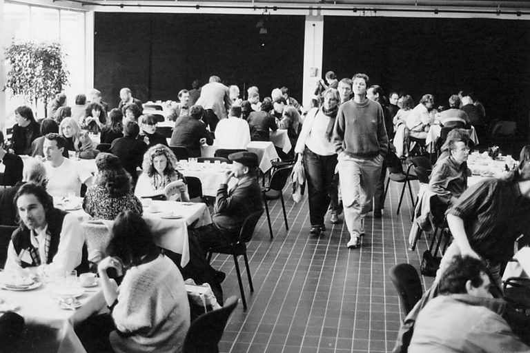 Delegates at lunch in the Oosterpoort